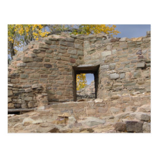 aztec ruin a look at fall through the window postcard