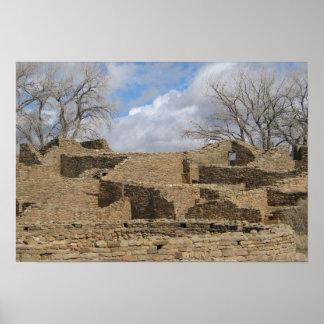 aztec ruins with windows and doorways poster