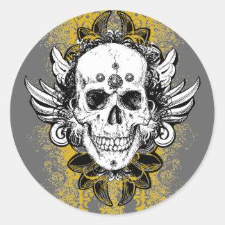 Aztec-Skull Round Sticker
