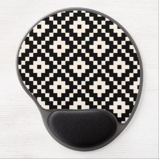 Aztec Style Block Print – Black and Cream Gel Mouse Mat