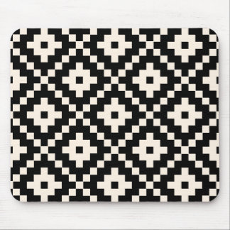 Aztec Style Block Print – Black and Cream Mouse Mat
