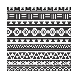 Aztec Style (large) Pattern - Monochrome Canvas Print
