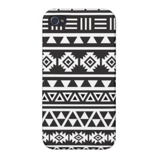Aztec Style (large) Pattern - Monochrome Case For The iPhone 4