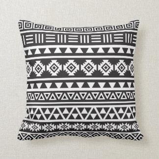 Aztec Style (large) Pattern - Monochrome Cushion