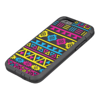 Aztec Style Large Ptn Blk, Cyan, Magenta & Yellow Tough Xtreme iPhone 6 Case
