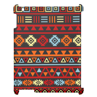 Aztec Style (Large) Ptn - Orange Yellow Red & Blk iPad Cover