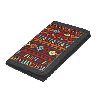 Aztec Style (Large) Ptn - Orange Yellow Red & Blk Trifold Wallet