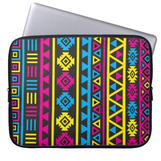 Aztec Style Large (v) Pattern - CMY & Black Laptop Sleeve