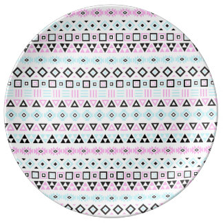 Aztec Style Pattern II (b) - Black Blue Pink White Plate