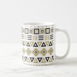 Aztec Style Pattern II (b) - Black White & Gold Coffee Mug