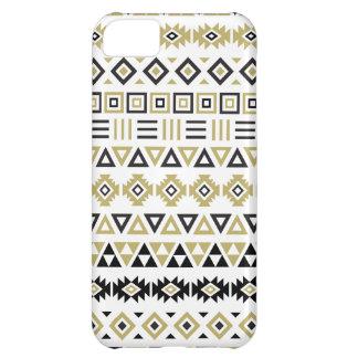 Aztec Style Pattern II (b) - Black White & Gold iPhone 5C Case