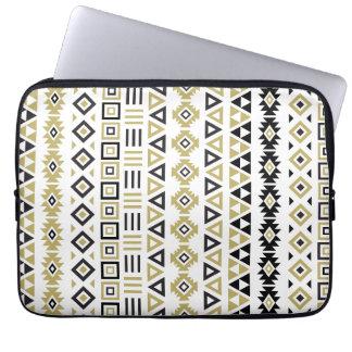 Aztec Style Pattern II(b) - Black White & Gold (v) Laptop Sleeve