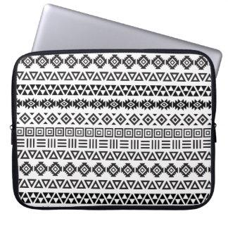 Aztec Style Pattern II - Monochrome Laptop Sleeve