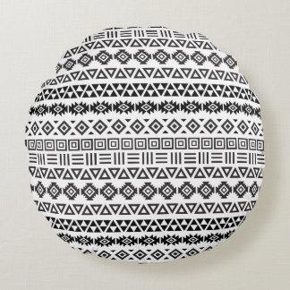 Aztec Style Pattern II – Monochrome Round Cushion