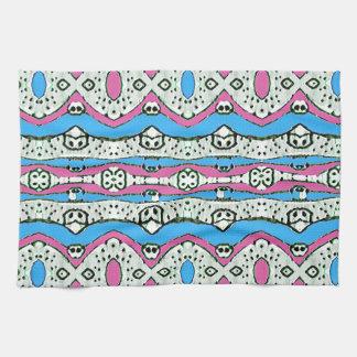 Aztec Style Pattern in Pastel Colors Tea Towel