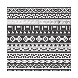 Aztec Style Pattern - Monochrome Canvas Print