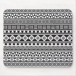 Aztec Style Pattern - Monochrome Mouse Mat