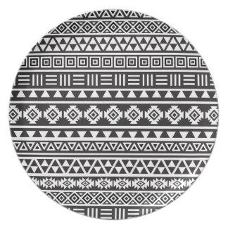Aztec Style Pattern - Monochrome Plate