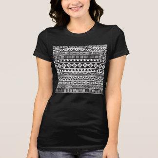 Aztec Style Pattern - Monochrome T-Shirt