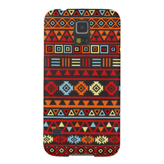 Aztec Style Pattern - Orange Yellow Blue Red & Blk Galaxy S5 Cases