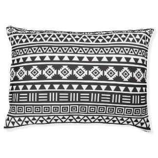 Aztec Style Pattern White on Black Pet Bed