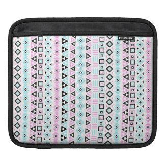 Aztec Style Ptn II (b) - Black Blue Pink White (v) iPad Sleeve