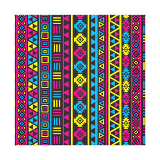 Aztec Style Ptn (v) - CMY & Black Canvas Print
