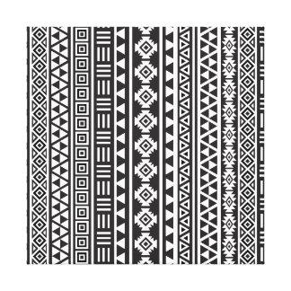 Aztec Style Ptn (v) - Monochrome Canvas Print