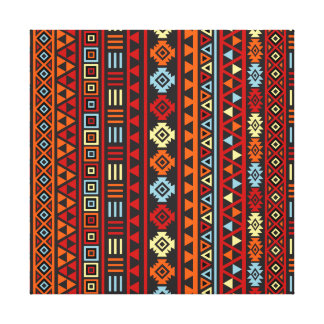 Aztec Style Ptn (v) - Orange Yellow Blue Red & Blk Canvas Print