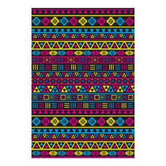 Aztec Style Repeat Pattern - CMY & Black Poster