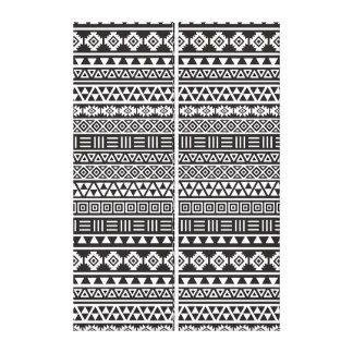 Aztec Style Repeat Pattern - Monochrome Canvas Print