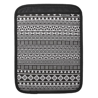 Aztec Style Repeat Pattern - Monochrome iPad Sleeve