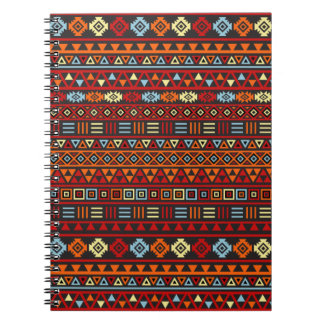 Aztec Style Repeat Ptn - Orange Yellow Red & Black Notebook