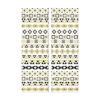 Aztec Style Rpt Pattern II(b) - Black White & Gold Canvas Print