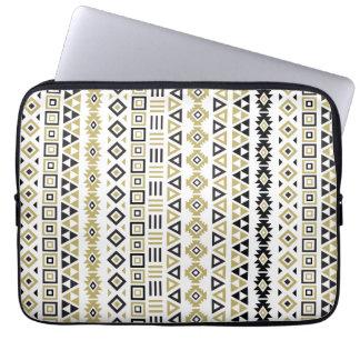 Aztec Style Rpt Pattern II(b) - Black White & Gold Laptop Sleeve
