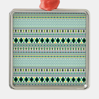 Aztec Style Tribal Pattern White Blue Green Christmas Ornament