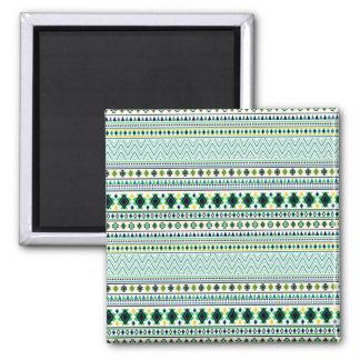 Aztec Style Tribal Pattern White Blue Green Magnet