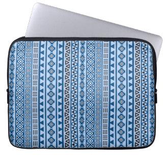 Aztec Style Vertical Pattern Blues Black & White Laptop Sleeve