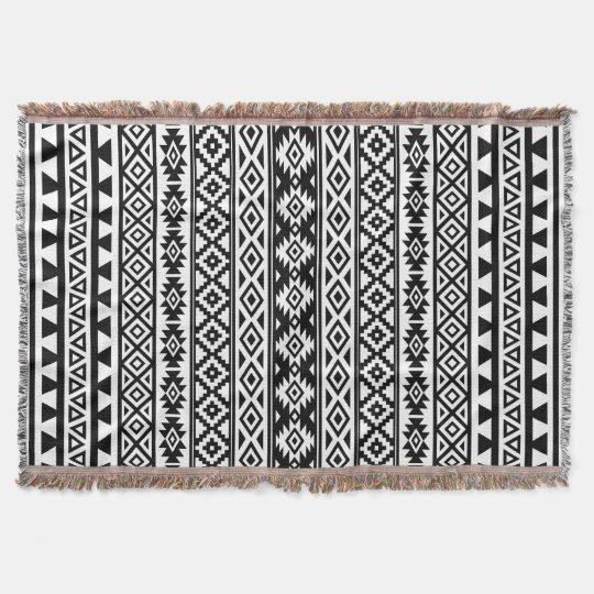 Aztec Stylised (V) Pattern Black & White Throw