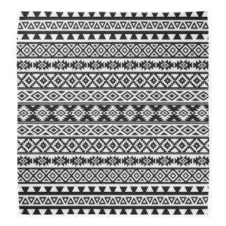 Aztec Stylized Pattern Black & White Bandana