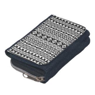 Aztec Stylized (V) Pattern Black & White Wallet