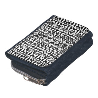 Aztec Stylized (V) Pattern Black & White Wallets