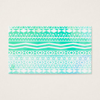 Aztec Summer Teal Watercolor Geometric Pattern Business Card