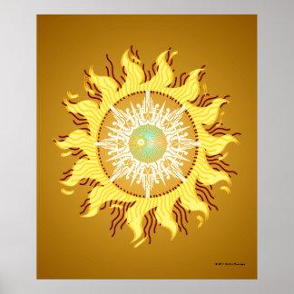 Aztec Sun Fantasy Fine Art Print