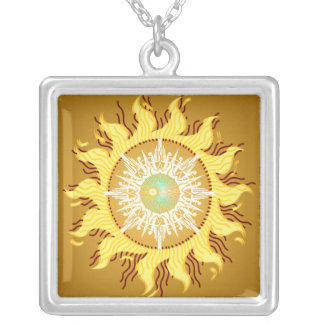 Aztec Sun Fantasy Fine Art Silver Plated Necklace