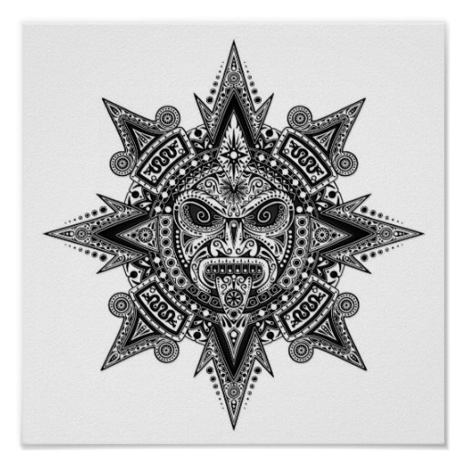 Aztec Sun Mask Black on White Posters