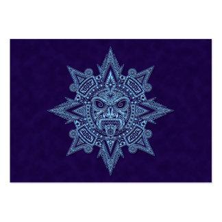 Aztec Sun Mask Blue Business Cards