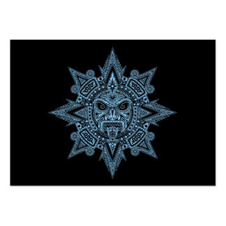 Aztec Sun Mask Blue on Black Business Cards
