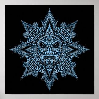 Aztec Sun Mask Blue on Black Print