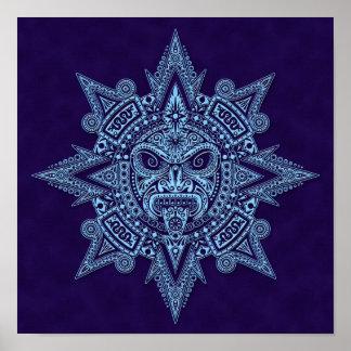 Aztec Sun Mask Blue Posters